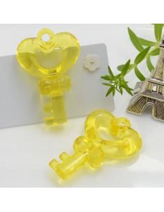 Ciondolo Chiave con cuore grande colore giallo in resina 46 x 31 mm 2 pz per le tue creazioni alla moda!!