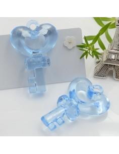 Ciondolo Chiave con cuore grande colore azzurro in resina 46 x 31 mm 2 pz per le tue creazioni alla moda!!