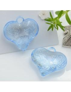 Ciondolo Cuore con rosa e scritta Love colore azzurro in resina 28 mm 2 pz per le tue creazioni alla moda!!