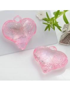 Ciondolo Cuore con rosa e scritta Love colore rosa in resina 28 mm 2 pz per le tue creazioni alla moda!!