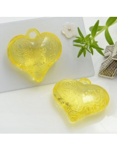 Ciondolo Cuore con rosa e scritta Love colore giallo in resina 28 mm 2 pz per le tue creazioni alla moda!!