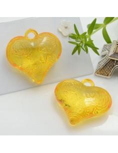 Ciondolo Cuore con rosa e scritta Love colore arancione in resina 28 mm 2 pz per le tue creazioni alla moda!!