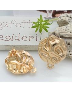 Base orecchini con perni in zama fantasia 20 x 23 mm col oro 18K con anellina per ciondoli per orecchini alla moda!!