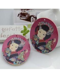 Ciondoli Elemento ovale pendente in legno con disegno ragazza giapponese 45 x 35 mm 2 FORI 2 pz per orecchini