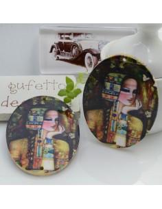 Ciondoli Elemento ovale pendente in legno con disegno Klimt 45 x 35 mm 2 FORI 2 pz per orecchini per le tue creazioni!!!
