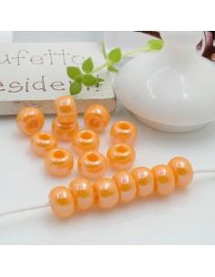 Perline di vetro forma rondella molto luminose con foro largo colore giallo arancione per le tue creazioni alla moda!!