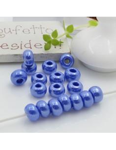 Perline di vetro forma rondella molto luminose con foro largo colore bluette per le tue creazioni alla moda!!