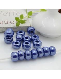 Perline di vetro forma rondella molto luminose con foro largo colore blu scuro per le tue creazioni alla moda!!