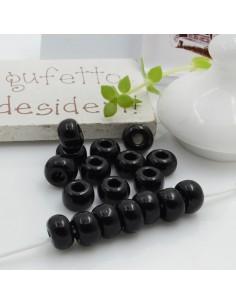 Perline di vetro forma rondella molto luminose con foro largo colore nero per le tue creazioni alla moda!!