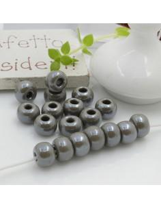 Perline di vetro forma rondella molto luminose con foro largo colore grigio per le tue creazioni alla moda!!
