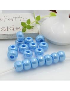 Perline di vetro forma rondella molto luminose con foro largo colore azzurro per le tue creazioni alla moda!!