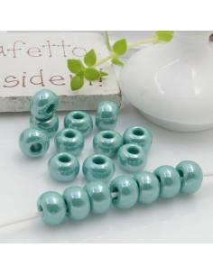 Perline di vetro forma rondella molto luminose con foro largo colore verde tiffany per le tue creazioni alla moda!!