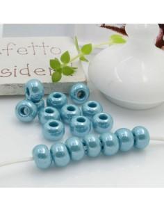 Perline di vetro forma rondella molto luminose con foro largo colore tiffany per le tue creazioni alla moda!!