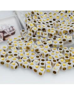 Perline di cubo con cuore oro in plastica bianco 6 mm 450 pz per le tue creazioni alla moda!!!