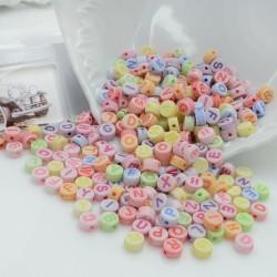 Perline lettere di plastica colorate e sfumate 4 x 7 mm 400 pz per le tue creazioni alla moda!!