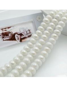 Filo perle in ceramica rondella luminosa e smaltata colore bianco 9 x 6 mm 40 pz per le tue creazioni!!