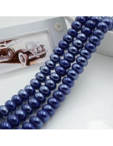Filo perle in ceramica rondella luminosa e smaltata colore blu 9 x 6 mm 40 pz per le tue creazioni!!