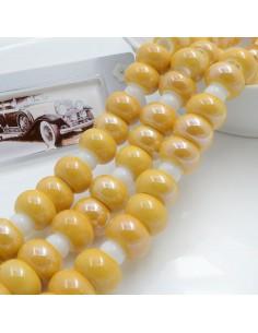 Filo perle in ceramica rondella luminosa e smaltata colore senape 14 x 9 mm 30 pz per le tue creazioni!!