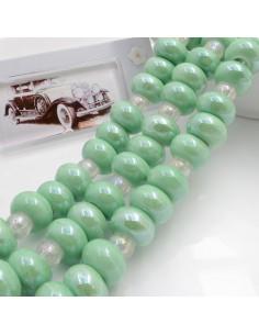 Filo perle in ceramica rondella luminosa e smaltata colore verde chiaro 14 x 9 mm 30 pz per le tue creazioni!!