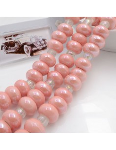Filo perle in ceramica rondella luminosa e smaltata colore rosa 14 x 9 mm 30 pz per le tue creazioni!!