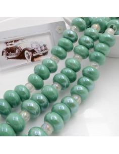 Filo perle in ceramica rondella luminosa e smaltata colore verde 14 x 9 mm 30 pz per le tue creazioni!!