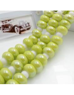 Filo perle in ceramica rondella luminosa e smaltata colore verde mela 14 x 9 mm 30 pz per le tue creazioni!!