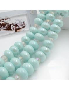 Filo perle in ceramica rondella luminosa e smaltata colore azzurro chiaro 14 x 9 mm 30 pz per le tue creazioni!!