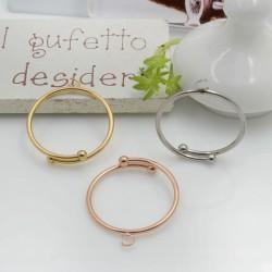Base anello per attaccare ciondoli misura 18 mm regolabile in acciaio 1 pz per le tue creazioni alla moda!!!
