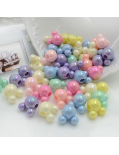 Perline a forma di topolino colorate rodiate di plastica 70 pz 15 mm con foro 4 mm per le tue creazioni alla moda!!