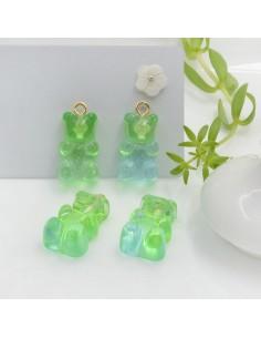 Ciondolo Orsetto in resina colore azzurro verde chiaro sfumato con brillantini 22 x 12 mm con gancio in ottone