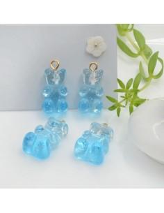 Ciondolo Orsetto in resina colore azzurro sfumato con brillantini 22 x 12 mm con gancio in ottone per le tue creazioni!!