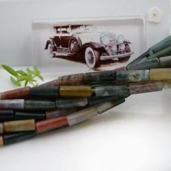 Pietre dure agata indiana forma cilindro liscio 14 x 4 mm 40 cm filo circa 28 pz per le tue creazioni!!!