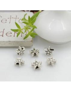 Distanziatori Perline piatto colore argento a forma di stella in metallo per bigiotteria per le tue creazioni!