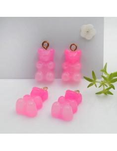 Ciondolo Orsetto in resina colore fucsia rosa sfumato con brillantini 22 x 12 mm con gancio in ottone per le tue creazioni!!