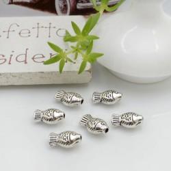 Distanziatori Perline piatto colore argento 9 x 5 mm 18 pz a forma di pesciolino in metallo per l tue creazioni!