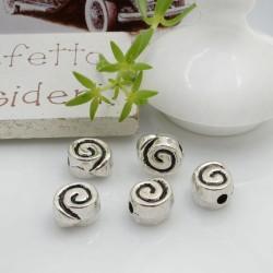 Distanziatori Perline piatto colore argento 8 mm 5 pz a forma di chiocciola in metallo per bigiotteria per le tue creazioni!