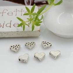 Distanziatori Perline piatto colore argento 7 x 6 mm 20 pz a forma di cuore in metallo per bigiotteria per le tue creazioni!