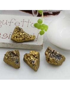 Quarzo cristallo rodiato irregolare colore metallic oro con foro passante circa 10-17 mm 1 pz per le tue creazioni!!