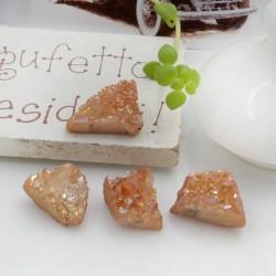 Quarzo cristallo rodiato irregolare colore cammello con foro passante circa 10-17 mm 1 pz per le tue creazioni!!