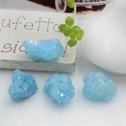 Quarzo cristallo rodiato irregolare colore acquamarina con foro passante circa 10-17 mm 1 pz per le tue creazioni!!