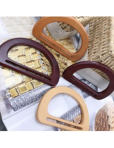 Manici per borse in legno forma mezzo luna 9 x 15 cm 2 pz colore varia fai da te