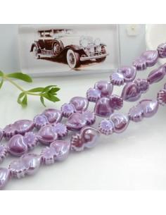 Filo perle a forma di cuore sacro in ceramica luminosa e smaltata colore lilla scuro 16 x 10 mm 20 pz per le tue creazioni!!