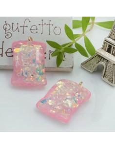 Ciondolo Caramella Dolcetti con scritta Sweet colore rosa in resina 28 x 18 mm 2 pz per le tue creazioni alla moda!!