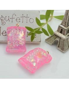Ciondolo Caramella Dolcetti con scritta Sweet colore fucsia in resina 28 x 18 mm 2 pz per le tue creazioni alla moda!!