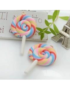 Ciondolo Lecca Lecca dolcetti colore mix 5 in pasta polimerica 42 x 28 mm 2 pz per le tue creazioni alla moda!!