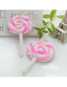 Ciondolo Lecca Lecca dolcetti colore rosa fucsia in pasta polimerica 42 x 28 mm 2 pz per le tue creazioni alla moda!!