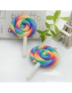 Ciondolo Lecca Lecca dolcetti colore mix 6 in pasta polimerica 42 x 28 mm 2 pz per le tue creazioni alla moda!!
