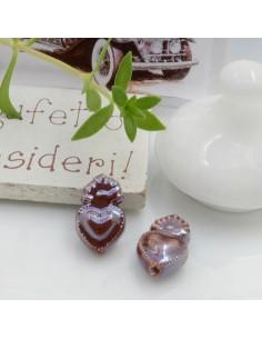 Perla a forma di cuore sacro in ceramica luminosa e smaltata colore cioccolato due misure 2 pz per le tue creazioni alla moda!!