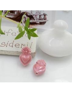 Perla a forma di cuore sacro in ceramica luminosa e smaltata colore rosa scuro due misure 2 pz per le tue creazioni alla moda!!