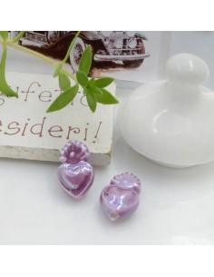 Perla a forma di cuore sacro in ceramica luminosa e smaltata colore lilla scuro due misure 2 pz per le tue creazioni alla moda!!